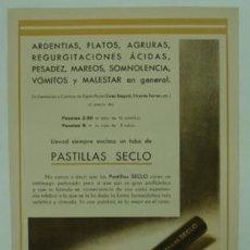 Catálogos publicitarios: PUBLICIDAD FARMACIA. PASTILLAS SECLO. ARDENCIAS, FLATOS, PESADEZ, MAREOS, SOMNOLENCIA.. Lote 15343464