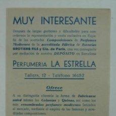 Catálogos publicitarios: DÍPTICO PUBLICITARIO. PERFUMERÍA LA ESTRELLA. HÁGASE SU PROPIO PERFUME, COLONIA.. Lote 15353816