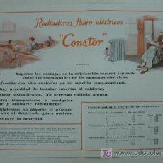 Catálogos publicitarios: DÍPTICO PUBLICITARIO. PUBLICIDAD CALEFACCIÓN IDEAL 'CONSTOR'. 1933. RADIADOR HIDROÉLECTRICO DE LUJO.. Lote 15354279