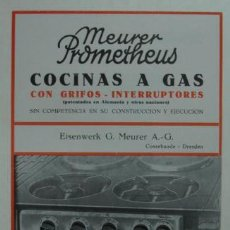 Catálogos publicitarios: TRÍPTICO PUBLICITARIO. 'PROMETHEUS' COCINAS A GAS, CON GRIFOS - INTERRUPTORES.. Lote 15354586