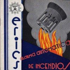 Catálogos publicitarios: CATALOGO - ALARMA AUTOMÁTICA DE INCENDIOS ERICSSON - AÑO 1930. Lote 26555784