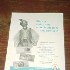 Catálogos publicitarios: CHOCOLATES ELGORRIAGA. PUBLICIDAD HOJA DE REVISTA AÑO 1961. TAMAÑO: 19 X 13 CM.. Lote 14589955
