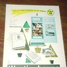 Catálogos publicitarios: WESTINGHOUSE. PUBLICIDAD HOJA DE REVISTA AÑO 1961. TAMAÑO: 19 X 13 CM.. Lote 14589966