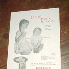 Catálogos publicitarios: MAIZENA. PUBLICIDAD HOJA DE REVISTA AÑO 1961. TAMAÑO: 19 X 13 CM.. Lote 14590174