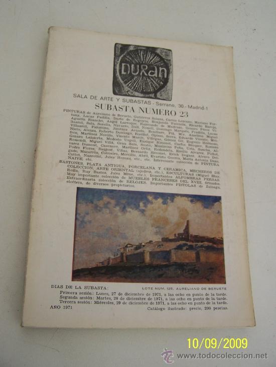 DURAN, SUBASTA Nº. 23.- SALA DE ARTE Y SUBASTA-1971 (Coleccionismo - Catálogos Publicitarios)