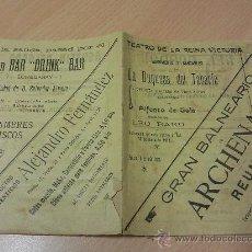 Catálogos publicitarios: TEATRO DE LA REINA VICTORIA PUBLICIDAD ANTIGUA MADRID ARCHENA MURCIA LA DUQUESA DEL TABARIN. Lote 26919256