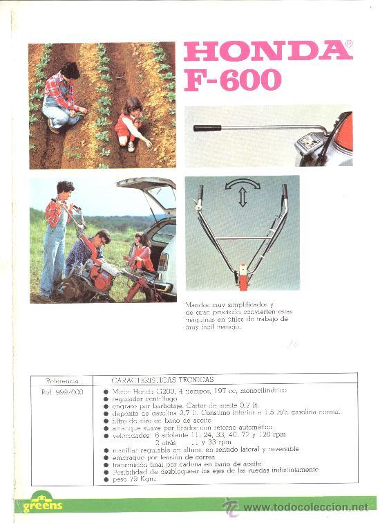 HONDA F-600 MOTOAZADA MOTOCULTOR (Coleccionismo - Catálogos Publicitarios)