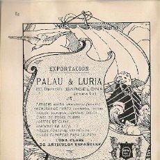 Cataloghi pubblicitari: PUBLICIDAD EXPORTACIÓN - IMPORTACIÓN PALAU & LURIA DE BARCELONA - 1911. Lote 20882925