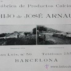 Catálogos publicitarios: 1916 HOJA PUBLICIDAD FABRICA DE PRODUCTOS CALCIOS HIJO DE JOSE ARNAU- BARCELONA VER FOTO. Lote 15892034