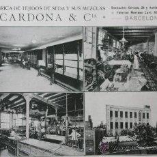Catálogos publicitarios: 1916 HOJA PUBLICIDAD FABRICA DE TEJIDOS DE SEDA CARDONA & CIA VER FOTO. Lote 15892103