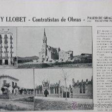 Catálogos publicitarios: DOS HOJAS PUBLICIDAD 1916 PUJADAS Y LLOBET CONTRATISTAS DE OBRAS BARCELONA VER FOTOS. Lote 15963123