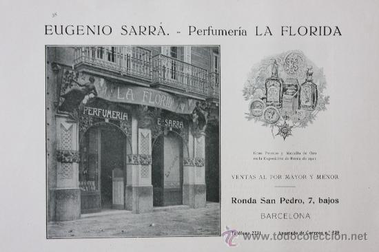 HOJA PUBLICIDAD 1916 EUGENIO SERRÁ - PERFUMERIA LA FLORIDA BARCELONA (Coleccionismo - Catálogos Publicitarios)