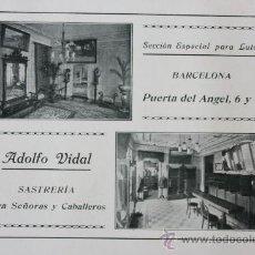 Catálogos publicitarios: HOJA PUBLICIDAD 1916 ADOLFO VIDAL SASTRERIA BARCELONA. Lote 15963137