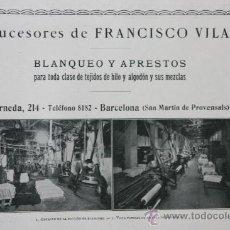 Catálogos publicitarios: DOS HOJAS PUBLICIDAD 1916 SUCESORES DE FRANCISCO VILA SAN MARTIN DE PROVENSALS BARCELONA VER FOTOS. Lote 15963153