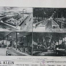 Catálogos publicitarios: HOJA PUBLICIDAD 1916 G.KLAIN FABRICA ESPAÑOLA DE ARTICULOS DE GOMA-AMIANTOS-CORREAS BARCELONA. Lote 15963167