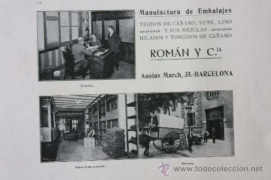 HOJA PUBLICIDAD 1916 MANUFACTURA DE EMBALAJES ROMAN Y CIA BARCELONA (Coleccionismo - Catálogos Publicitarios)