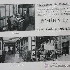 Catálogos publicitarios: HOJA PUBLICIDAD 1916 MANUFACTURA DE EMBALAJES ROMAN Y CIA BARCELONA. Lote 15963168