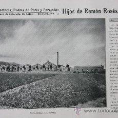 Catálogos publicitarios: DOS HOJAS PUBLICIDAD 1916 ALAMBRES PUNTAS DE PARIS Y ENREJADOS HIJOS DE RAMON ROSES BADALONA VER FO . Lote 15963170