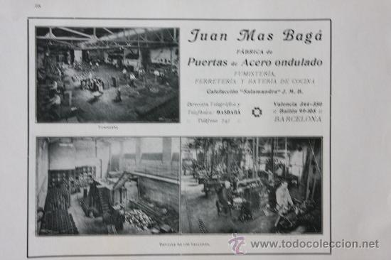 HOJA PUBLICIDAD 1916 FABRICA DE PUERTAS DE ACERO ONDULADOJUAN MAS BAGÁ BARCELONA (Coleccionismo - Catálogos Publicitarios)