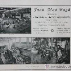 Catálogos publicitarios: HOJA PUBLICIDAD 1916 FABRICA DE PUERTAS DE ACERO ONDULADOJUAN MAS BAGÁ BARCELONA. Lote 15963204