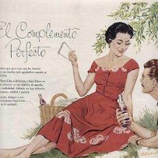 Catálogos publicitarios: PUBLICIDAD ANUNCIO REFRESCO PEPSI COLA PEPSICOLA AÑO 1956. TAMAÑO 34 X 25 CM.. Lote 16083141