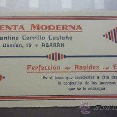 Catálogos publicitarios: ANTIGUA PUBLICIDAD IMPRENTA MODERNA. CONSTANTINO CARRILLO CASTAÑO. ABARAN. MURCIA. Lote 125371144