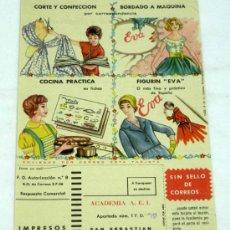 Catálogos publicitarios: PUBLICIDAD CURSO EVA CORTE Y CONFECCIÓN ACADEMIA AEI 1959. Lote 16279675