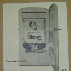 Catálogos publicitarios: ANUNCIO PUBLICITARIO BITTER CINZANO SODA-AÑOS 1960S-MEDIDA 23*33 CMS.. Lote 16460710