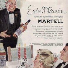 Catálogos publicitarios: PUBLICIDAD ANUNCIO COGNAC (COÑAC) MARTELL 34 X 25 CM.AÑO 1957. Lote 16774175