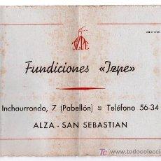 Catálogos publicitarios: CATALOGO PUBLICITARIO FUNDICIONES IZPE. SAN SEBASTIAN. 1945.. Lote 17337986