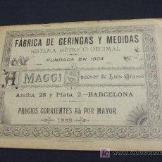 Catálogos publicitarios: CATALOGO ORIGINAL AÑO 1.898 - FABRICA DE GERINGAS Y MEDIDAS - SISTEMA METRICO DECIMAL - . Lote 27166760