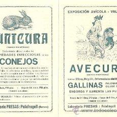 Catálogos publicitarios: DIPTICO PUBLICITARIO AVECURA Y CUNICURA - LABORATORIO PRESAS - PALAFRUGELL (GERONA) - AÑOS 20. Lote 17484740