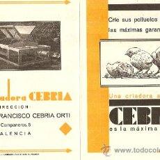 Catálogos publicitarios: DIPTICO CRIADORA DE POLLUELOS CEBRIA - AÑOS 20 - FRANCISCO CEBRIA ORTI - VALENCIA. Lote 17485510