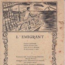 Catálogos publicitarios: PS3400 PUBLICIDAD DEL ESTABLECIMIENTO BARCELONÉS J. DÍEZ. CON POESÍA 'L'EMIGRANT' DE J. VERDAGUER. Lote 17911280
