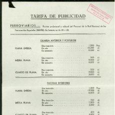 Catálogos publicitarios: RENFE. REVISTA FERROVIARIOS. TARIFA DE PUBLICIDAD.. Lote 18163120