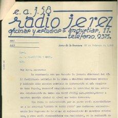 Catálogos publicitarios: RADIO JEREZ. CARTA COMERCIAL CON TARIFA DE PUBLICIDAD.. Lote 18163198