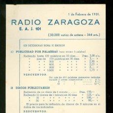 Catálogos publicitarios: ZARAGOZA. RADIO ZARAGOZA INTERCONTINENTAL. TARIFA DE PRECIOS. 1951.. Lote 18166171