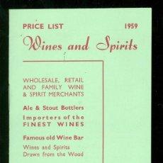 Catálogos publicitarios: HARROGATE. LISTA DE PRECIOS. VINOS Y CHAMPAÑAS. 1959.. Lote 18167195