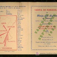 Catálogos publicitarios: VALENCIA. HOJA DEL LUNES. TARIFA DE PUBLICIDAD. SEPTIEMBRE 1959.. Lote 18167283