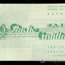 Catálogos publicitarios: BURGOS. RADIO CASTILLA. TARIFA DE PUBLICIDAD.. Lote 18167332