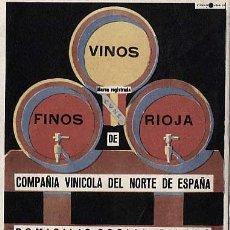 Catálogos publicitarios: PUBLICIDAD. ANUNCIO DE VINOS FINOS DE RIOJA. BODEGAS EN HARO, RIOJA. . AÑO 1938. Lote 18171477