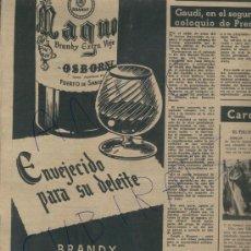 Catálogos publicitarios: RECORTE DE PRENSA.AÑO 1952. PUBLICIDAD. COÑAC. MAGNO. BRANDY EXTRA VIEJO. OSBORNE.. Lote 18314234