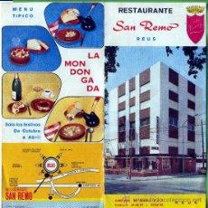 Catálogos publicitarios: UN FOLLETO DE RESTAURANTE SAN REMO DE REUS ( TARRAGONA ) EDITADO EL AÑOS 1952. Lote 18406410