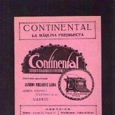 Catálogos publicitarios: PUBLICIDAD MÁQUINA ESCIBIR / ANUNCIO CONTINENTAL / ORIGINAL EPOCA. Lote 21935043