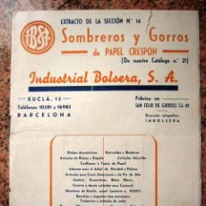Catálogos publicitarios: CATALOGO DE SOMBREROS Y GORROS DE PAPEL CRESPON. INDUSTRIA BALSERA S.A. BARCELONA. 1943. 12 PP. Lote 18991738