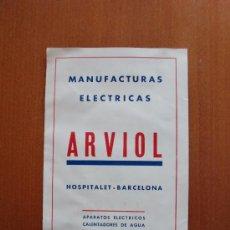 Catálogos publicitarios: MANUFACTURAS ELECTRICAS ARVIOL. Lote 26975471