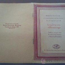 Catálogos publicitarios: ANTIGUO FOLLETO MEDICO FARMACIA. CURAS DE ADELGAZAR LIPOLYSIN DEL DOCTOR GEORG HENNING BERLIN . Lote 27062380
