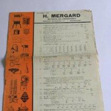 Catálogos publicitarios: CATÀLOGO MATERIAL LABORATORIO MERGARD (BARCELONA) 1933. Lote 27456832