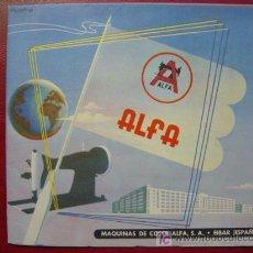 Catálogos publicitarios: ALFA S.A., MAQUINAS PARA COSER - EIBAR - AÑOS 1940-50. Lote 20105449