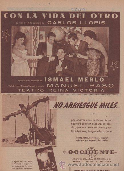 TEATRO REINA VICTORIA. CON LA VIDA DEL OTRO. CARLOS LLOPIS. 1954. PUBLICIDAD ORIGINAL EN PRENSA. (Coleccionismo - Catálogos Publicitarios)